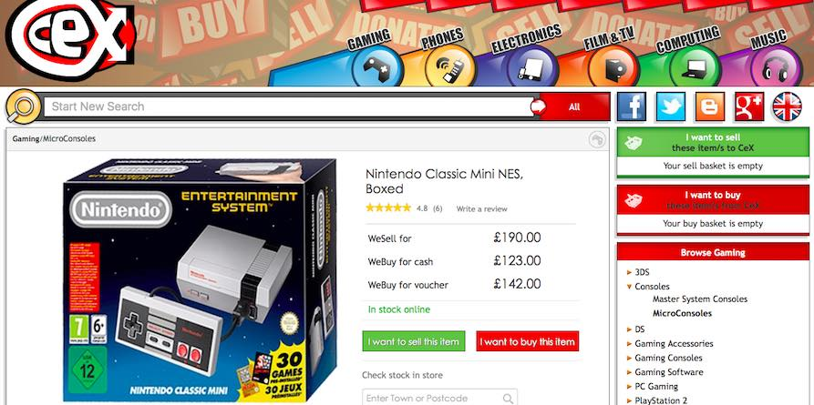 NES Classic MIni CEX UK